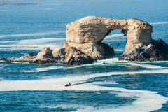 Arch Rock Formation  near Antofagasta, Chile. Arch Rock Formation in La Portada National Reserve, rock-emblem coast of Chile Royalty Free Stock Image
