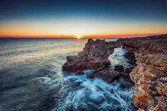 The Arch - rock formation near Tyulenovo. Long exposure shot Stock Images