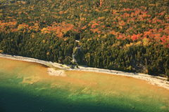 Arch rock mackinac island michigan. Aerial view of arch rock on mackinac island michigan in autumn Stock Image
