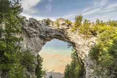 Arch Rock in Mackinac Island, Michigan. Beautiful Arch Rock natural formation in Mackinac Island. It is a natural limestone arch Royalty Free Stock Photography