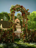 Arch of Roses, 3d CG. 3D computer graphics of an arch of red and white roses royalty free illustration