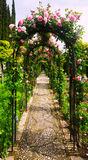Arch with roses at garden of  Generalife Stock Image