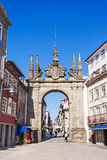 Arch of Rua Souto. BRAGA, PORTUGAL - JULY 11: The Arch of Rua Souto, commonly referred as the Arco da Porta Nova, an 18th-century ceremonial arch on July 11 Royalty Free Stock Image