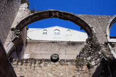 Arch in Ruins of Carmo Convent in Lisbon Stock Image