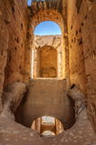 Arch in ruins of the largest coliseum, North Africa. El Jem,Tunisia, UNESCO. Arch in ruins of the largest coliseum in North Africa. El Jem,Tunisia, UNESCO Royalty Free Stock Images