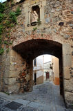 Arch of saint Anne, city walls of Cáceres, Extremadura, Spain Stock Photo