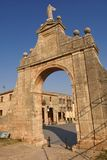 Arch of Santa Maria la Real church and square, Sasamon, Burgos. Province, Spain Stock Photos