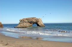 Arch in the sea at Natural Bridges State Beach, Santa Cruz, California. Arch in the sea with pelicans flying by, at Natural Bridges State Beach, Santa Cruz Stock Photography