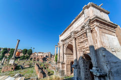Arch of Septimius Severus and aspects from inside the Roman Foru. M. Rome, Italy Royalty Free Stock Image