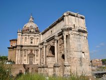 Arch of Septimius Severus in the Roman Forum Stock Photography
