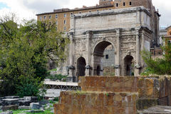 Arch of Septimius Severus. At the Roman Forum on a Clear Autumn Day Royalty Free Stock Image