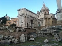 Arch of Septimius Severus, Roman Forum, historic site, archaeological site, ancient history, ruins. Arch of Septimius Severus, Roman Forum is historic site royalty free stock photography