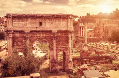 Arch of Septimius Severus at the Roman Forum, Rome. Ancient arch of Emperor Septimius Severus at the Roman Forum. Rome, Italy. The Roman Forum is one of the main Royalty Free Stock Photos
