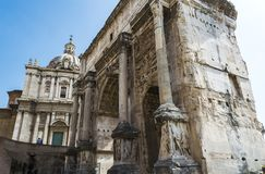 Arch of Septimius Severus in Roman Forum, Rome. Close-up of Arch of Septimius Severus in Roman Forum, Rome Stock Images