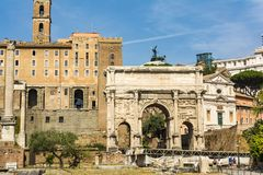 Arch of Septimius Severus in Roman Forum, Rome. Rome, Italy - August 31, 2017: Arch of Septimius Severus in Roman Forum, Rome Stock Photo
