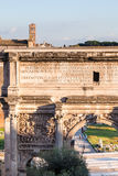Arch of Septimius Severus on Roman Forums. Travel to Italy - Arch of Septimius Severus on Roman Forums in Rome city Royalty Free Stock Photo