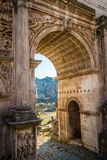 Arch of Septimius Severus in Rome. On a bright sunny day Royalty Free Stock Images