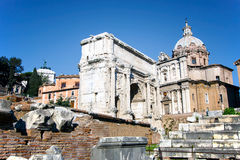 Arch of Septimius Severus in the ruins of Roman forum Royalty Free Stock Images
