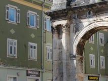 ARCH OF THE SERGII AND GREEN FACADE, PULA, CROATIA Royalty Free Stock Photo