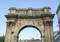 The Arch of Sergius. Roman stone arch of Sergius in the city of Pula, Croatia Stock Photo