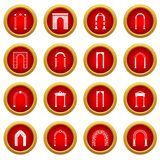 Arch set icon red circle set Royalty Free Stock Photos