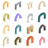 Arch set icons. In isometric 3d style isolated on white background stock illustration