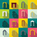 Arch set icons, flat style Royalty Free Stock Photos