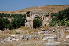 Arch of Severus Alexander or Bab Er Roumia, Dougga. Arch of Severus Alexander or Bab Er Roumia (Gate of the Christian Woman Royalty Free Stock Photography