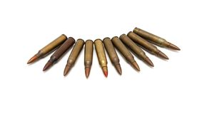 Arch of spread M16 cartridges isolated Stock Image