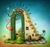Arch with stairs. Illustration or poster with stairs and green arch with fabulous items. Computer graphics royalty free illustration