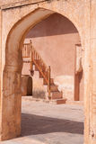 Arch and Stairway, Amber Fort, Jaipur, India. Arch, courtyard and stairway, Amber Fort, Jaipur, India Stock Images