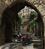 Arch, Steps, Sofa, and Motorcycles royalty free stock images