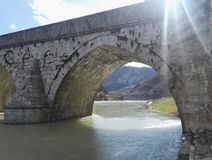 Arch stone bridge. Detail of old Mehmed Pasa Sokolovic Bridge in Visegrad, Bosnia and Herzegovina stock photos