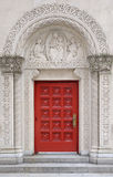Arch stone door with beautiful pattern. In New York City Manhattan Street Stock Images