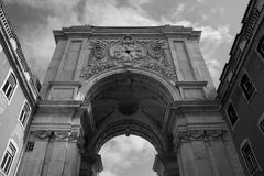 Arch of street Augusta. Majestic and monumental, the Arc of Augusta Street is the symbol of Lisbon Stock Photography