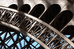 Arch structure. Eiffel Tower arch fragment detail royalty free stock photo