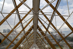 Arch structures of Bogdan Khmelnitsky (Kievsky) Pedestrian Bridge (2001). Moscow. Russia Stock Photo