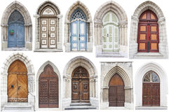 Arch style doors with limestone edges. A set of ten arch style doors with limestone surroundings or edges. Each door is in different color and has different Stock Photo