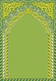 Arch-style Indian green ornaments, template for text. Vector ornaments in Indian style Royalty Free Stock Photo