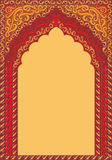 Arch-style Indian red ornaments, template for text. Vector ornaments in Indian style Stock Illustration