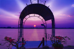 Arch of sunset over the Mekong river. Royalty Free Stock Photo