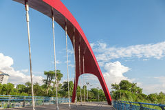 Arch suspension bridge stock photo