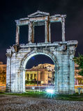 Arch of Temple of Olympian Zeus. Arch of the Temple of Olympian Zeus at night under floodlights. Inside the arch visible Acropolis Royalty Free Stock Photo