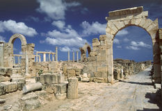 Arch of Tiberius. Libya. Leptis Magna. Arch of Tiberius over the Cardo street Royalty Free Stock Photography
