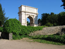 Arch of Titus. Arch erected in honour of Titus and in commemoration of the siege of Jerusalem, Rome, Italy Stock Photography