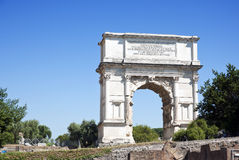 Arch of Titus. The Arch of Titus is a 1st-century honorific arch, located on the Via Sacra, Rome, Italy, just to the south-east of the Forum Romanum Royalty Free Stock Image