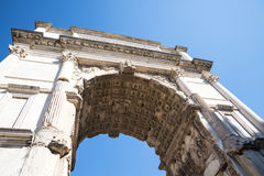 The Arch of Titus in the Ancient Forum in Rome Italy. Rome Italy, the Eternal city, which has been a destination for tourists since the times of the Roman Royalty Free Stock Images
