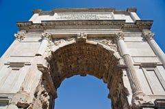 Arch of Titus, Forum Romanum in Rome. The ancient Forum Romanum and arch of Titus in Italy Stock Image