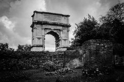 Arch of Titus. Modern and old, past and present go side by side, all the time. Whether you are in Rome for 3 days, 3 weeks or 3 months, be prepared to step into Stock Photo