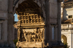 Arch of Titus relief in evening sun Stock Image